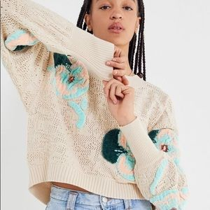 UO Carissa Floral Embroidered Pullover Sweater